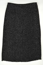 NWT CHICO'S Black DOMINO TWEED NELLY FRINGE Straight Pencil Long Skirt ~ Sz 1