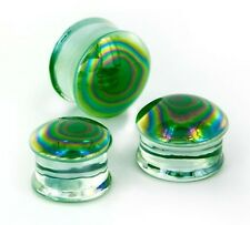"Ear Plugs 14mm/9/16"" Gauge Body Jewel Pair-Pyrex Glass Pearl Green Saddle Flare"