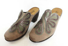 NAOT Womens Tan Brown Green Floral Leather Slip Ons Shoes Mules Heels 38 7 7.5