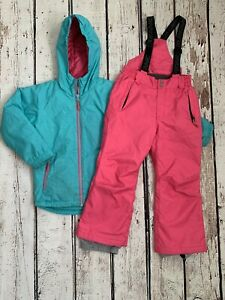 Surfanic Ski Jacket And Salopette Trousers Pink And Green Age 7-8 128cm