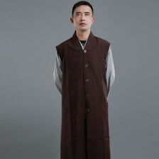 Unisex Shaolin Buddhist Monk Garan Coats Robes Meditation Gown Long Vest Fashion