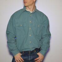 L.L. Bean Men's Button Up long Sleeve Shirt Heavy Cotton Teal OMT16 Large Reg