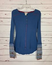 Sundance Women's XS Extra Small Blue Waffle Long Sleeve Embroidered Top Shirt