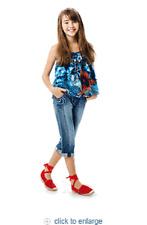 CATIMINI denim cropped pants & floral tank blouse top  set 122 128 7 8