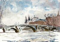 R. D. MACDONALD - CONTEMPORARY Watercolour Painting PARIS RIVER SEINE BRIDGE
