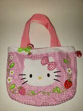 RARE Sanrio 2004 Hello Kitty Tote Bag w/ Dangling Strawberries 2 pockets(11inx8)