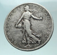 1898 FRANCE Antique Silver 2 Francs French Coin w La Semeuse Sower Woman i82048