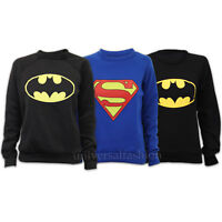 Ladies Sweatshirt Womens Top Jumper Batman Superman Logo Print Fleece Casual New