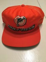 Vintage New Era Dupont Visor NFL Miami Dolphins Snapback Hat Orange Trucker Mesh
