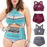 Plus Size Womens High Waist Swimsuit Swimwear Push Up Bra Bikini Set Beachwear