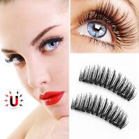 4Pcs New Magnetic Eyelashes 3D Handmade Reusable False No-glue Magnet Eye Lashes