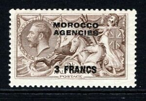 Morocco Ag  KGV 1924-32 Seahorse 3f. on 2s.6d Chocolate Brown SG200 LM/Mint