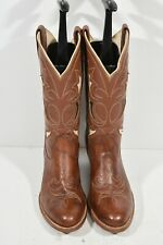 VINTAGE RANCHO LOCO HAND MADE IN MEXICO 9 BROWN LEATHER ROUND TOE COWBOY BOOTS
