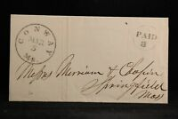 Massachusetts: Conway 1852 Stampless Cover, Black CDS, Nice Circled PAID 3