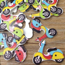 50pcs Motorcycle Wood Buttons Sewing Kid's Craft Mix Scrapbooking WB308