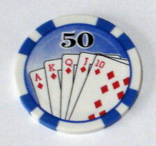 25 x Royal Flush Numbered Clay Composite 11.5gsm Poker Chips. (Blue 50)