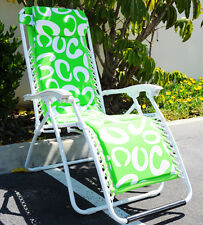 『Neptune�Green & White Folding Lounge Chair Leisure Beach Recliner W/Pillow Nib