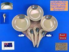 Melamine Gold Shallow Bowl & Rice/Soup Spoon Set - 3 Bowls, 3 Spoons NEW (B106)
