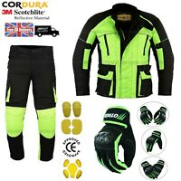 MEN MOTORCYCLE JACKET TROUSERS GLOVES  HIVIZ SUIT CE ARMOUR MOTORBIKE
