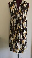 New York & Company Print Tie Neck Lined Dress Sz 10 NWT