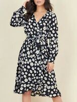 BNWT New Black Daisy Floral Print Wrap Midi Dress - Size 10
