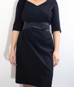 Hobbs Black Short Sleeve Tailored V-Neck Knee Length Shift Dress UK 12