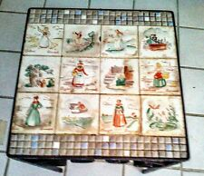 """Old Vintage Tile Table Denmark Mid Century County Rural scenes Iron 12"""" X12"""" TOP"""