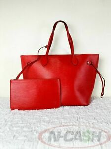 BIDSALEONLY!AUTHENTIC $2090 LV Neverfull Epi Leather MM Coquelicot Bag w/ Pouch