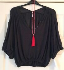 FREE PEOPLE Ladies Boho Top Size XS Black Sheer Puff Sleeves Boho Top BNWT