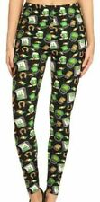 New OS One Size Buttery Soft Leggings St Patricks Day black green beer gold flag
