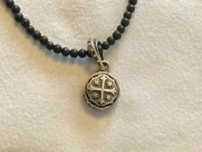 """King Baby Sterling Silver Shipwreck Cross Black Onyx Beaded 24"""" Necklace HSN"""