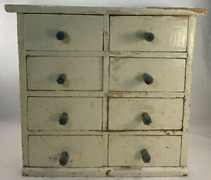 """Antique 8 DRAWER Wooden CABINET Decor 6 1/4"""" x 13"""" x 12"""" spice white as is read"""
