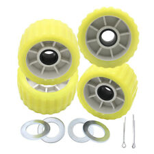 """Boat Trailer Amber/Yellow Poly Ribbed Wobble Roller Kit 5""""/Ribbed Wobble Roller"""