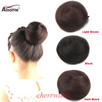 Clip In On 100% Human Hair Bun hand-woven Scrunchie Chignon Updo Cover Extension