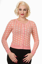 SOFT CUTE CANDY PINK HEART CARDIGAN S UK 8-10 KAWAII VINTAGE