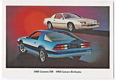 1982 Chevrolet CAMARO Z28 Coupe & Berlinetta; Dealer Promo Postcard UNUSED VG+