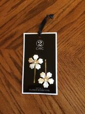 IVORY GOLD DAISY FLOWER Bobby Hair Pins Set of 2 Pair of Two Floral Accessory