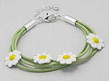 "CHILDREN's 5""-6.5"" Green Enamel Daisy Flower Leather Bracelet 10mm wide + 2.7g"