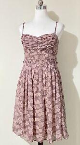 Alannah Hill Sz 10 Mini Dress Silk Fit & Flare Pink Floral - Sweetest Girl Frock