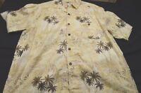 Joe Marlin Cream Brown Palm Xl Short Sleeve Cotton Rayon Men's Shirt