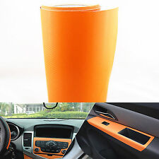 "Orange Carbon Fiber Texture Decal 15x39"" Dashboard Vinyl Wrap Decorative Sticker"