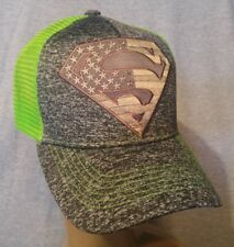 Superman USA Flag Snapback Melange Black Neon Green Mesh Ball Cap