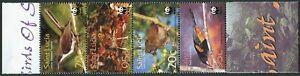 St Lucia 1132-35,strip.MNH. WWF 2001.Birds:Thrasher,Finch,Oriole,Forest thrush