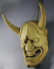 Hand Carved Japanese Noh Hannya HELMET Kyougen Kagura Demon Bugaku 26*19*9CM