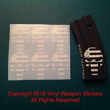 USA Flag Punisher AR Magazine Sticker 6 Pack, AR, AK, Brand New, WHITE!