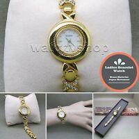GOLD Women Bracelet Wrist Watch Fashion Crystals Bangle Japan Movement WL05