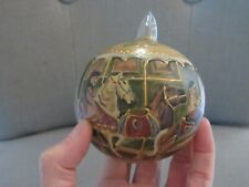VINTAGE Hand Painted Christmas Ornament CAROUSEL HORSES Blown Glass POLAND