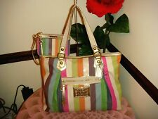 NWOT COACH POPPY Multi LEGACY STRIPE Sequins Glam Tote Shoulder Bag+Wristlet