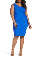 $179  20W  Alex Evenings Embellished Surplice Sheath Dress Royal Blue