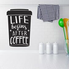 La vie commence après café wall decal stickers home room decor art amovible (m)